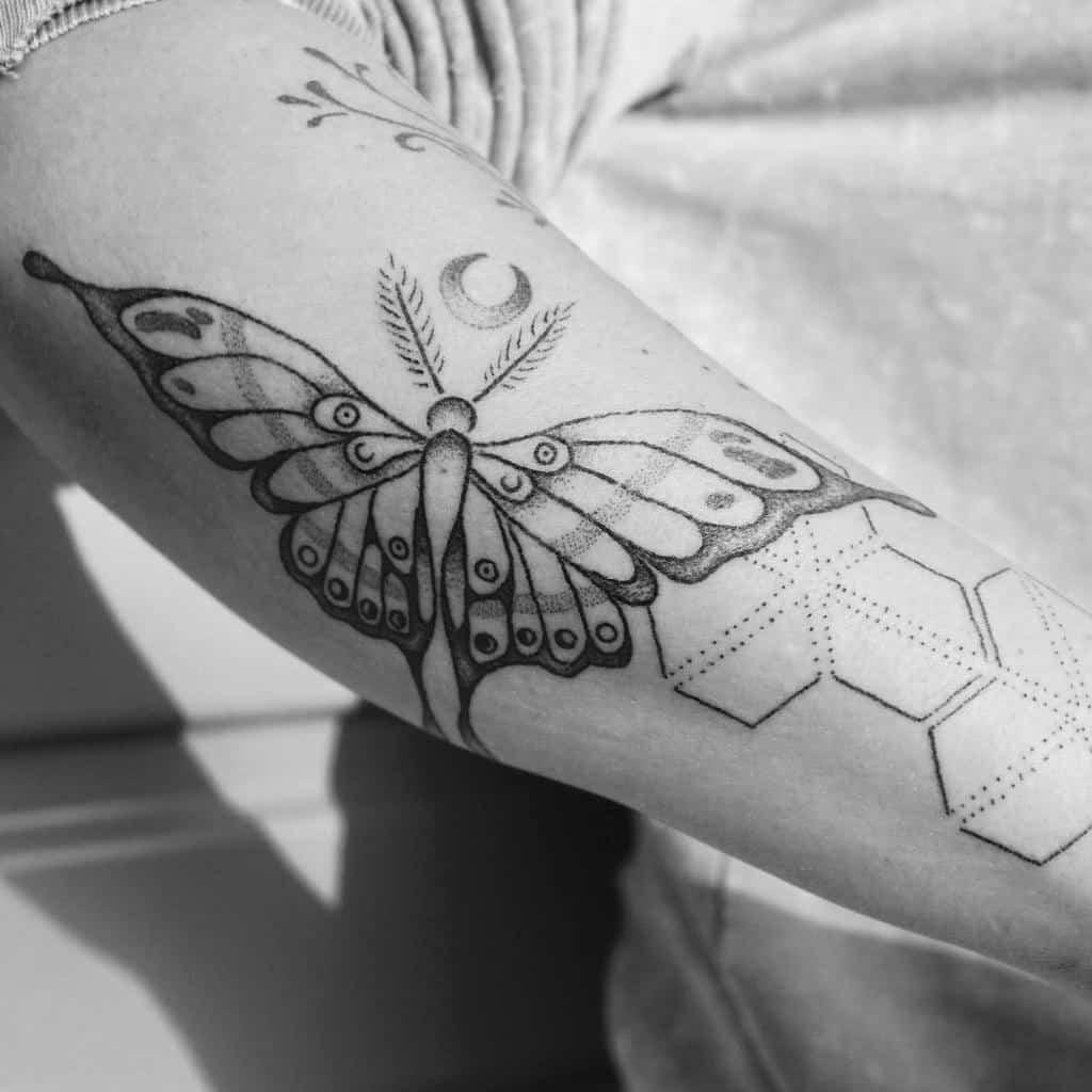 Geometric Luna Moth Tattoo Kriyaluna