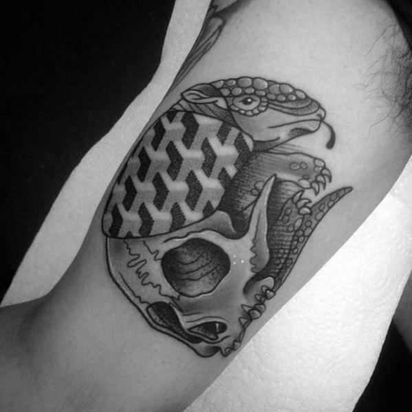 Geometric Male Armadillo Tattoo Design Inspiration On Inner Arm Bicep