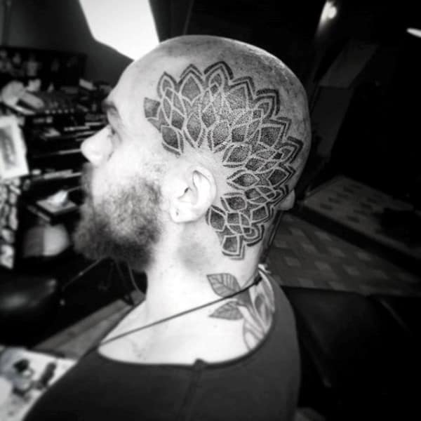 Geometric Male Floral Head Tattoo