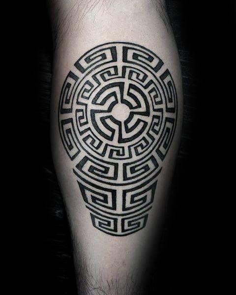 Geometric Maze Leg Guys Tattoo Designs