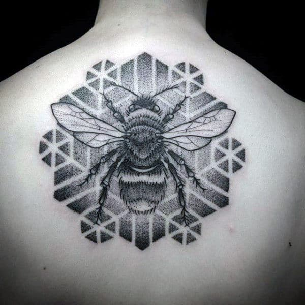 Geometric Mens Bee Upper Back Tattoos