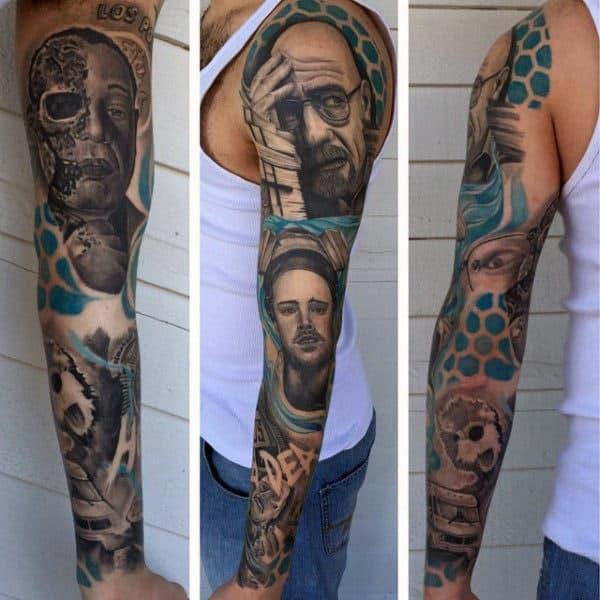 Geometric Mens Blue Ink Breaking Bad Themed Full Sleeve Tattoos