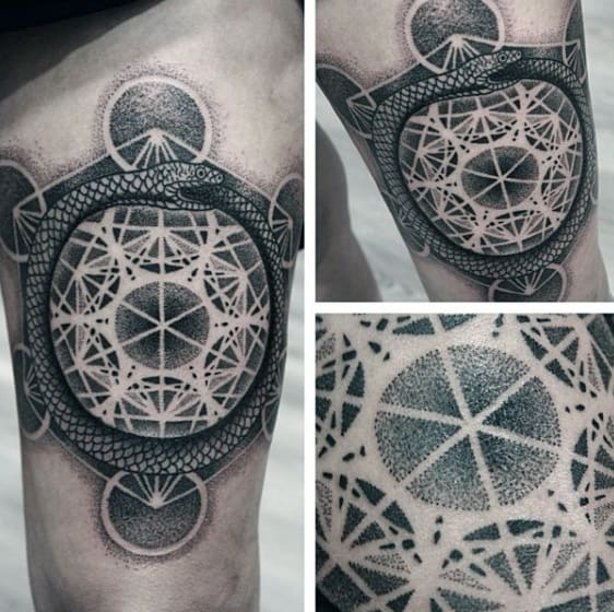 Geometric Mens Dotwork Ouroboros Thigh Tattoos