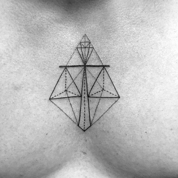 Geometric Mens Libra Scale Chest Tattoos