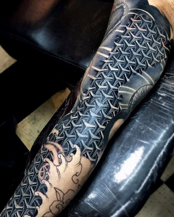 Geometric Mens Pattern 3d Sleeve Tattoo Ideas