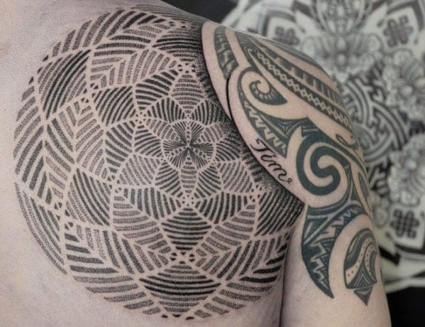 Geometric Men's Shoulder Tattoos
