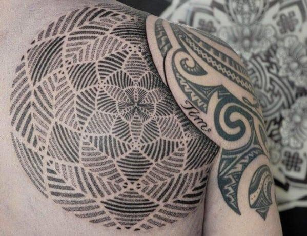 Geometric Men's Shoulder Tattoos