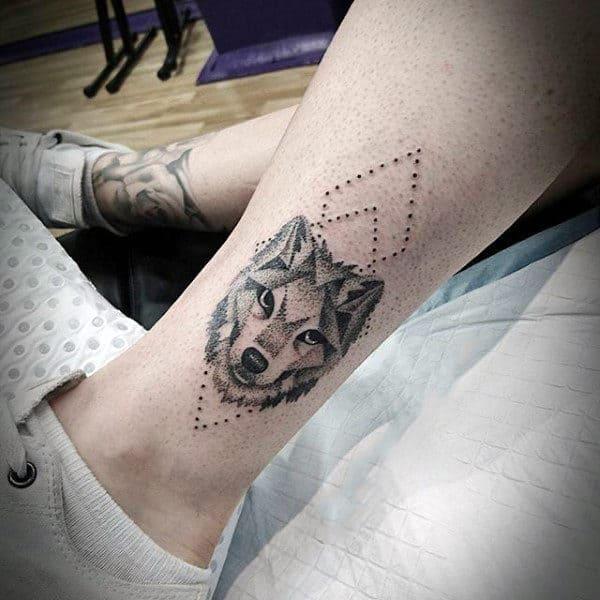 Geometric Mens Tattoo Of Husky Dog