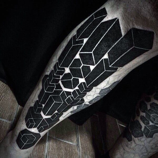 Geometric Modern Insane Guys Blackwork Leg Tattoo