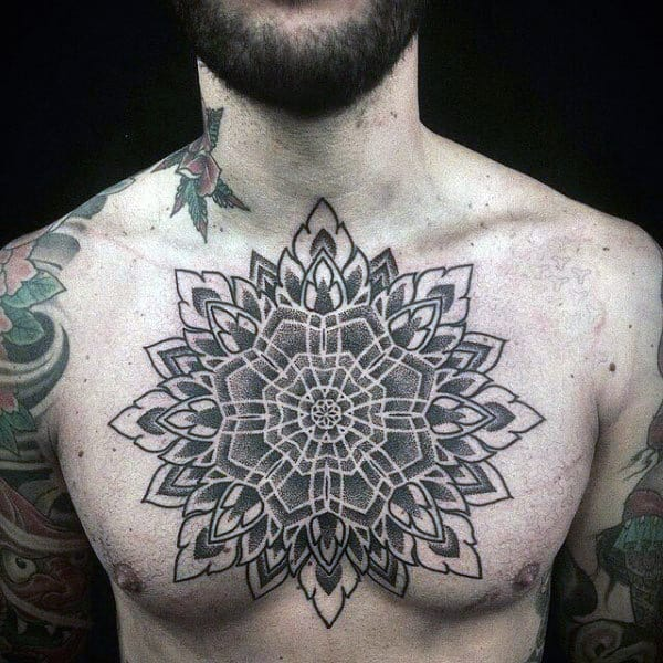 Geometric Modern Mens Floral Chest Tattoos