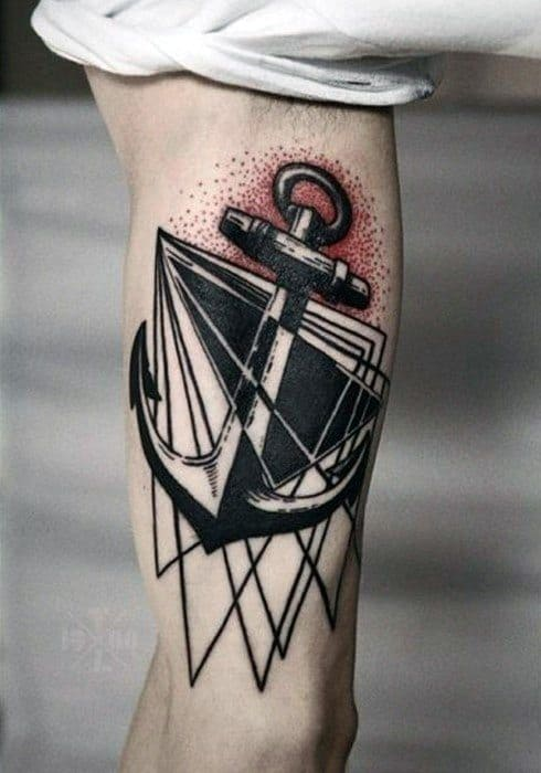 Geometric Modern Unique Anchor Inner Arm Bicep Tattoos For Guys