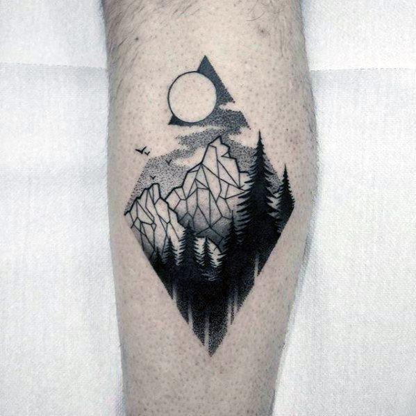 Geometric Mountain Guys Tattoos