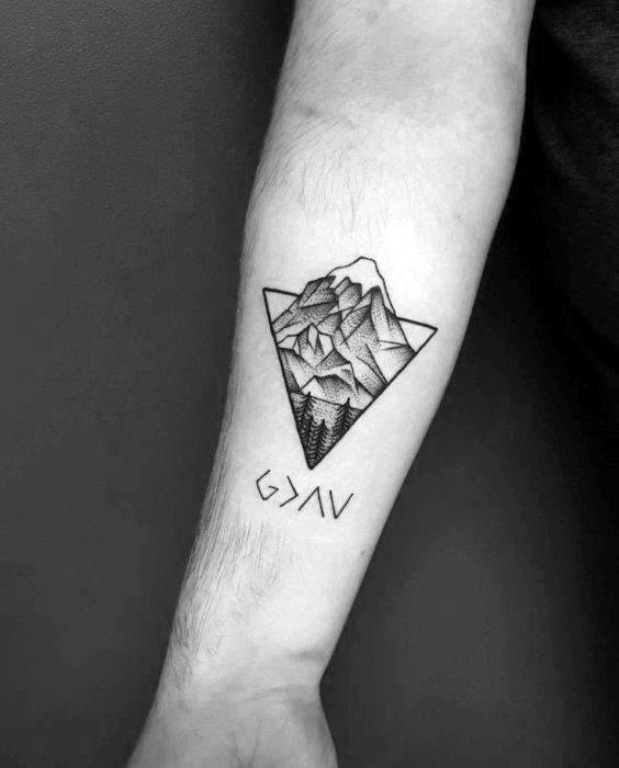 Geometric Wrist Tattoo: 50 Geometric Mountain Tattoo Designs For Men