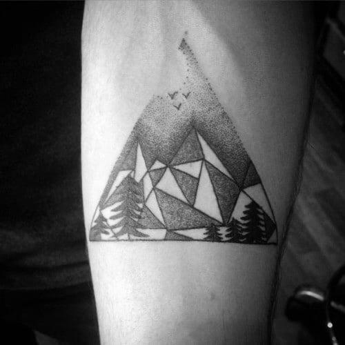 Geometric Mountain Male Tattoos