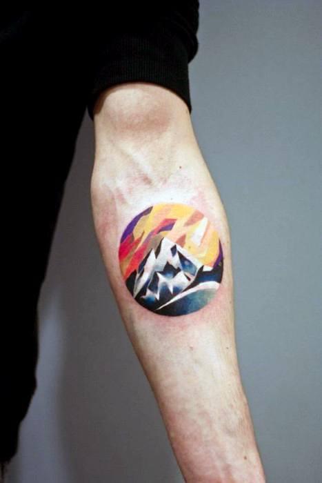 Geometric Mountain Tattoo Design On Man