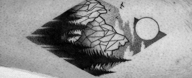 50 Geometric Mountain Tattoo Designs For Men - Geometry Ink Ideas