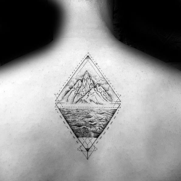 Geometric Mountain Tattoo Ideas For Males