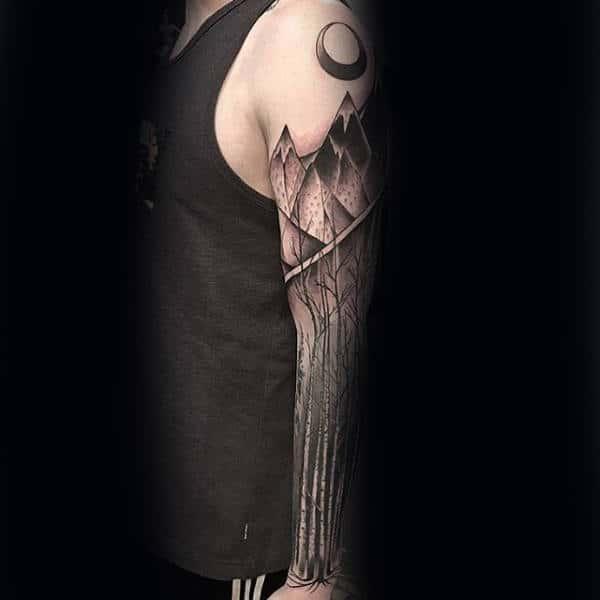 Geometric Mountain Tree Sleeve Tattoo For Guys