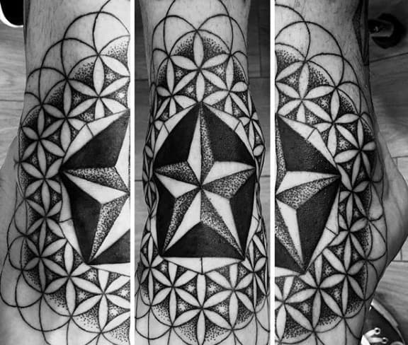 Geometric Nautical Star Flower Of Life Mens Outer Forearm Tattoos