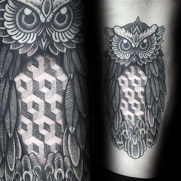 Geometric Owl Different Mens Leg Tattoo Designs