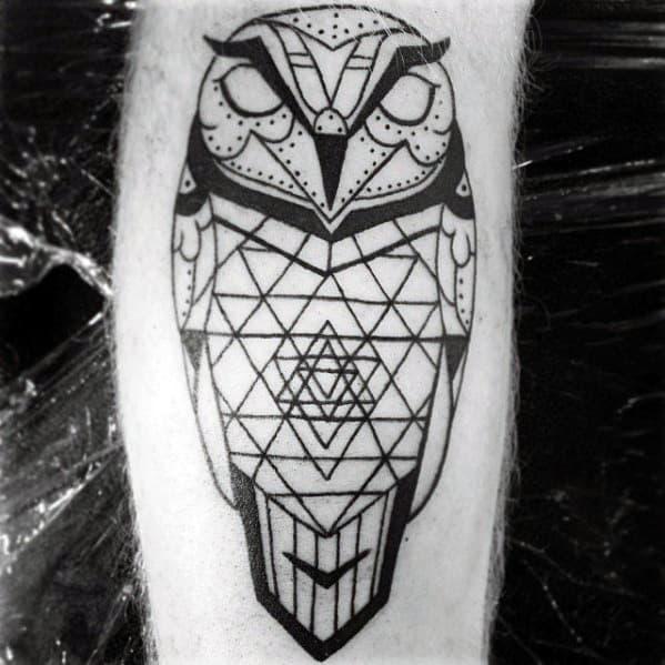 Geometric Owl Guys Leg Calf Black Ink Outline Tattoo Design Ideas