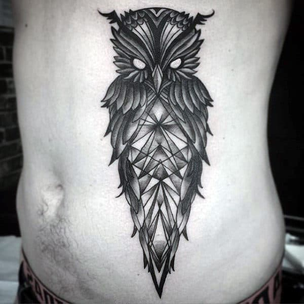 Geometric Owl Stomach Tattoo For Males On Side Of Body