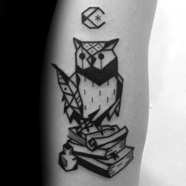 Geometric Owl With Books Coolest Guys Small Arm Tattoo