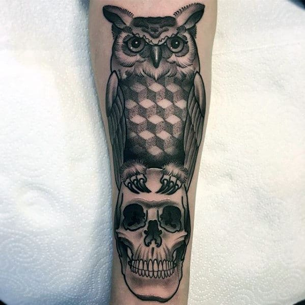 Geometric Owl With Skull Guys Forearm Tattoo Ideas