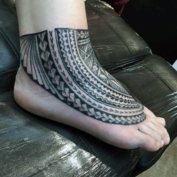 Geometric Pattern Black Design Tattoo On Foot For Guys