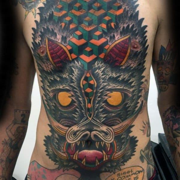 Geometric Pattern Boar Head Mens Full Chest Tattoo Ideas