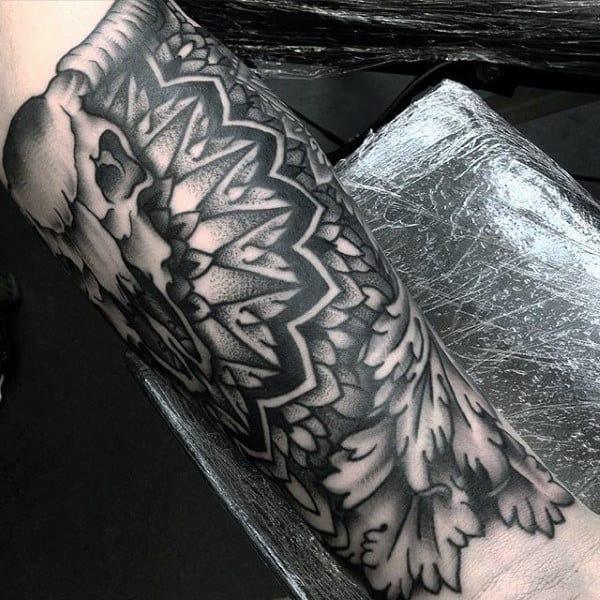 Geometric Pattern Bull Skull Quarter Forearm Guys Tattoo Sleeve