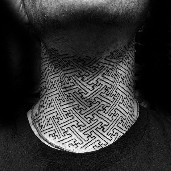 Geometric Pattern Cool Male Tribal Neck Tattoo Designs