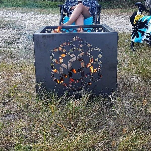 Geometric Pattern Cool Metal Fire Pit
