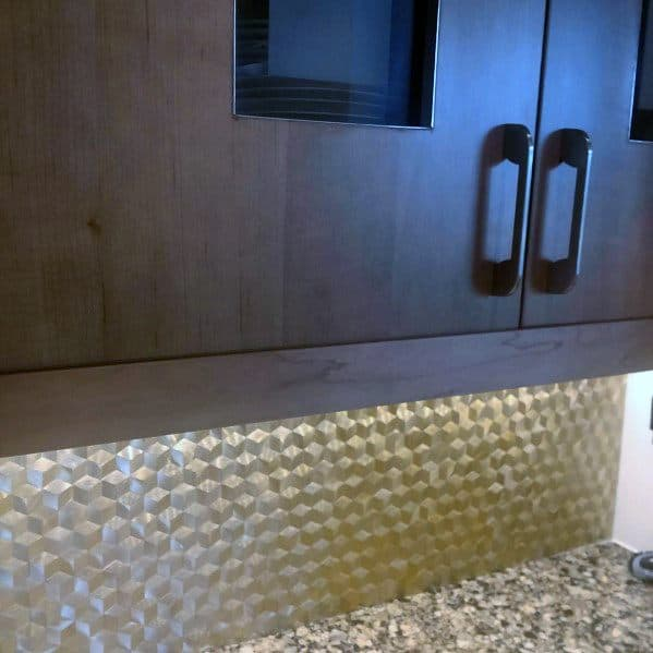 Geometric Pattern Cubes Brass Kitchen Ideas For Metal Backsplashs