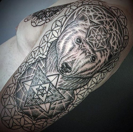 Geometric Pattern Dotwork Mens Polar Bear Sleeve Tattoo With Flower Of Life Design
