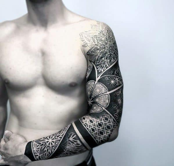 56c8f12e8 ... Guys Unique Aztec Themed Tattoo Ideas. Geometric Pattern Mens Full Arm Sleeve  Unique Pattern Tattoos