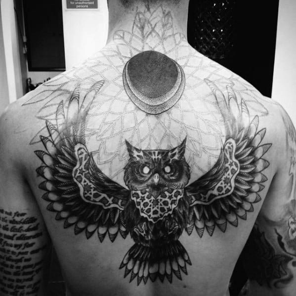 Geometric Pattern Owl With Moon Mens Back Tattoo