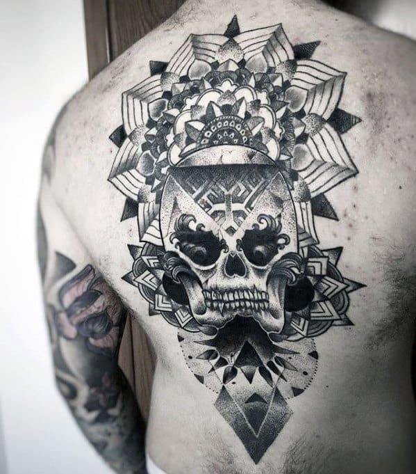 Geometric Pattern Skull Unique Back Tattoos For Males