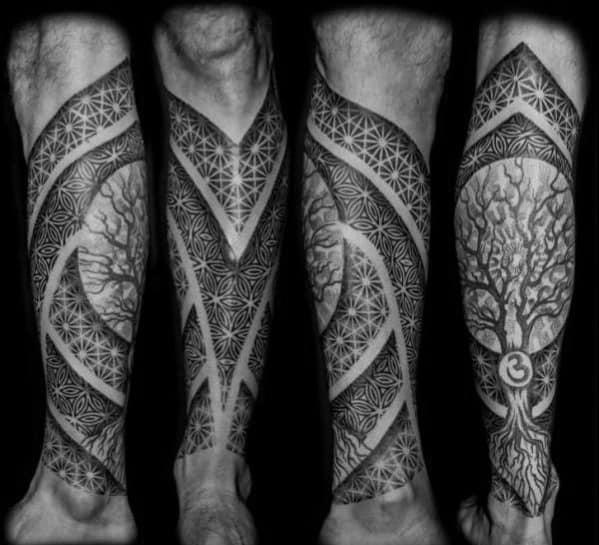 Geometric Pattern Tree Leg Male Tattoos