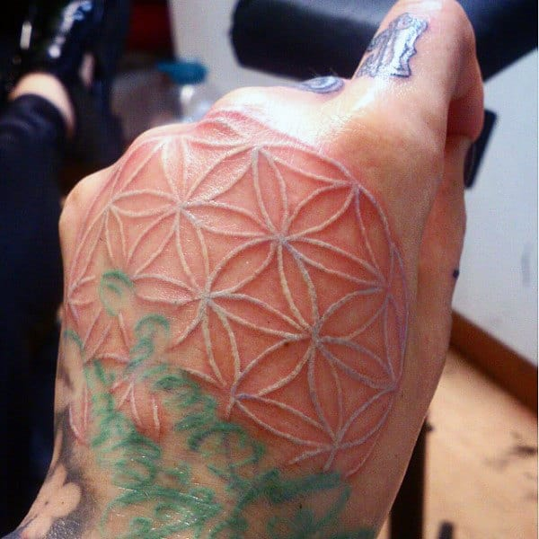Geometric Pattern White Ink Guys Hand Tattoos