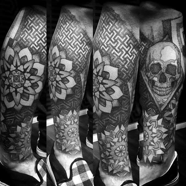 Geometric Pattern With Skull Awesome Mens Leg Sleeve Tattoos
