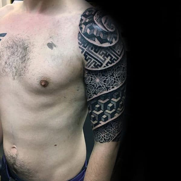 Geometric Patterns Male 3d Half Sleeve Tattoo Ideas