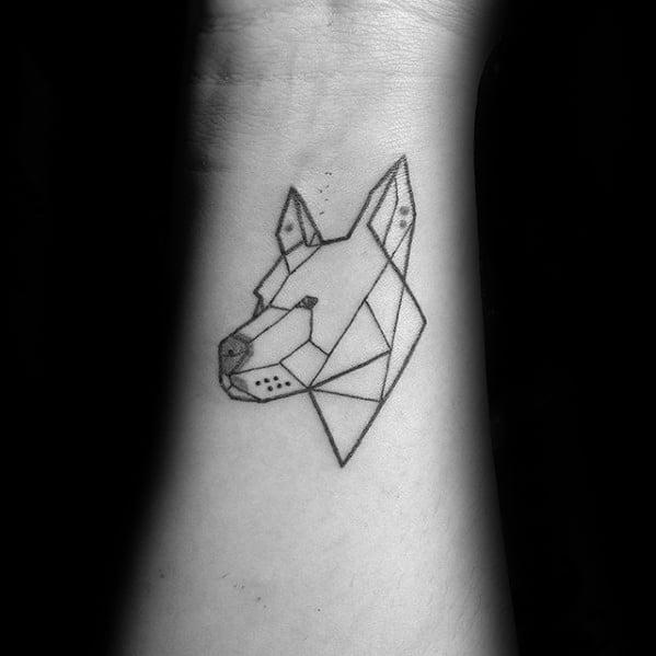 Geometric Pitbull Dog Animal Tattoos Men
