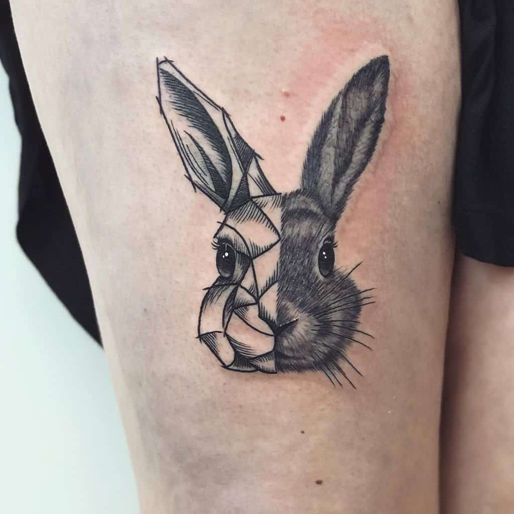 Geometric Rabbit Tattoos Claudiaberger Tattoo
