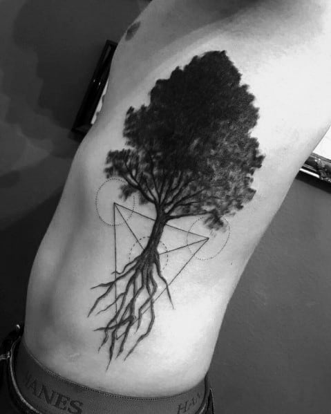 Geometric Ribs Male Cool Tree Tattoos