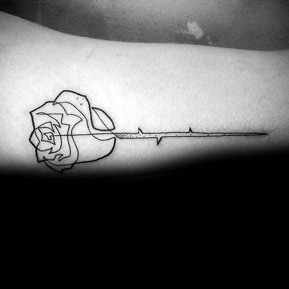 Geometric Rose Flower With Stem Mens Simple Arm Tattoo