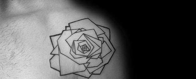 Geometric Rose Tattoo Designs For Men