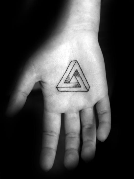 Geometric Shape Palm Hand Tattoo Ideas For Males