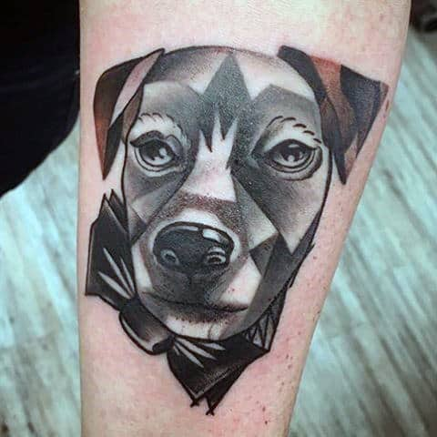 Geometric Shapes Abstract Male Dog Tattoo Design Ideas