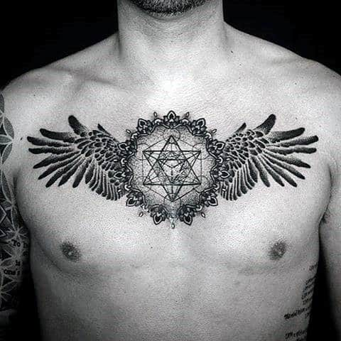 40 Wing Chest Tattoo Designs For Men - Freedom Ink Ideas